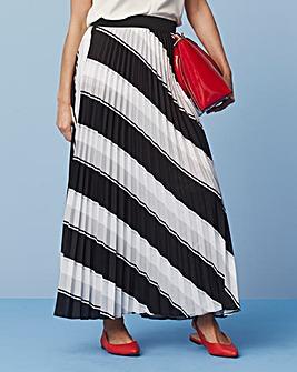 Stripe Sunray Pleat Maxi Skirt