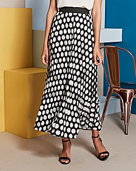 Spot Sunray Pleat Maxi Skirt