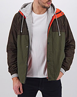 Olive/Camo Colourblock Hooded Jacket