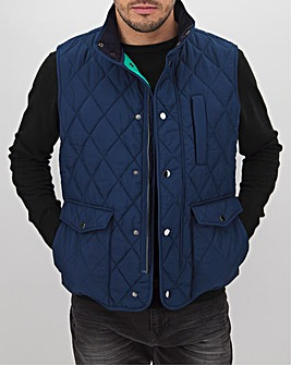 Navy Quilted Contrast Gilet