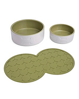 Petface Cream and Olive Pet Bowl Set