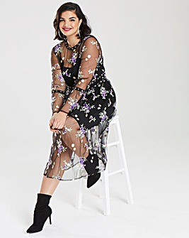 Simply Be Embroidered Stud Mesh Dress