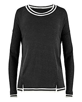 Black Mesh Rib Trim Sweatshirt