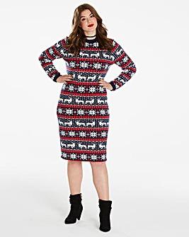 Simply Be Christmas Print Bodycon Dress