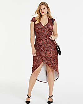 Simply Be By Night Snakeprint Wrap Dress