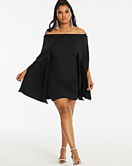 Simply Be By Night Cape Bardot Dress