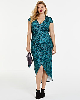 Teal Print Simply Be By Night Wrap Dress