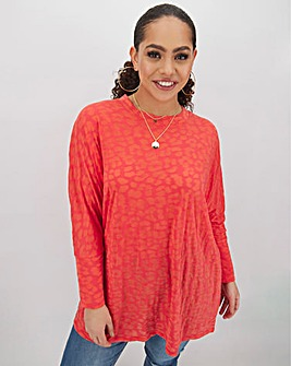 Coral Burnout Boxy Tunic