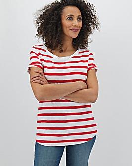 Red Stripe Cotton Slub T Shirt