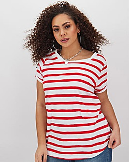 Red Stripe Cotton Slub T Shirt