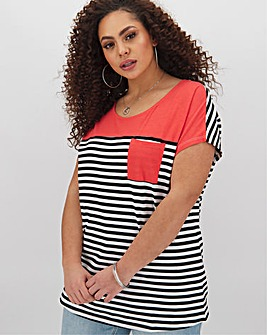 Block Stripe Curved Hem Pocket T Shirt