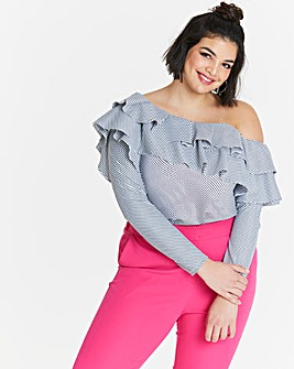 Asymmetric Stripe Ruffle Top