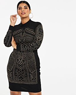 Simply Be By Night Stud Bodycon Dress