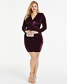Simply Be By Night Twist Front Velvet Dress