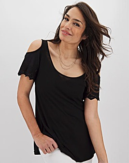 Black Broderie Cold Shoulder Top