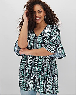 Feather Print Zip Front Tunic
