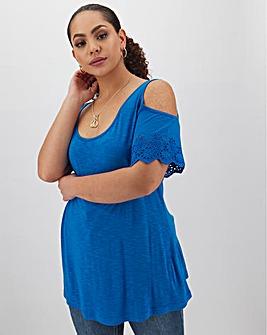 Azure Blue Broderie Cold Shoulder Top
