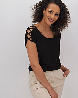 Black Criss Cross Strap T Shirt