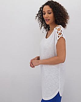 White Criss Cross Strap T Shirt