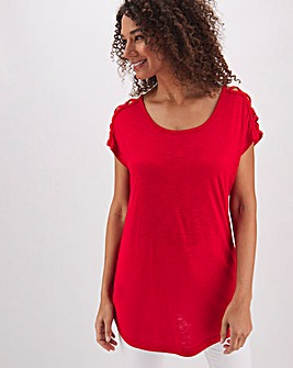 Bright Red Criss Cross Strap T Shirt