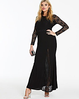 Simply Be By Night Lace Insert Plunge Neck Maxi Dress
