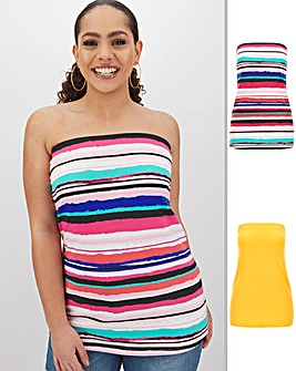 Stripe and Yellow Pack of 2 Boobtube