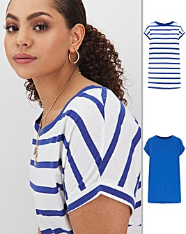 Cobalt/Stripe 2 Pack Boyfriend T Shirts