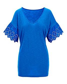 Azure Blue Broderie Sleeve T Shirt