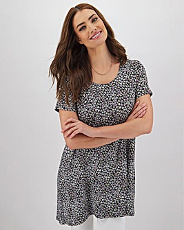 Black Ditsy Short Sleeve Dip Back Tunic