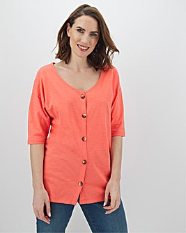 Pink Linen Button Through Top