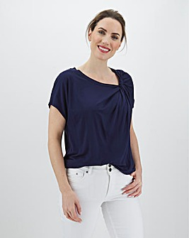 White Twist Front Shoulder T Shirt