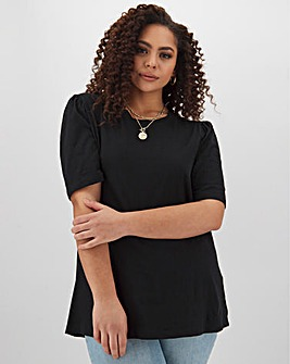 Black Ruched Front Square Neck Top