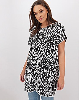 Mono Print Drop Shoulder Pocket Tunic
