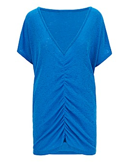 Azure Blue Ruched Front T-Shirt