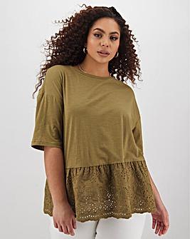 Khaki Broderie Peplum Hem T-Shirt