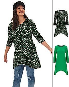 2 Pack Long Sleeve Hanky Hem Tunics