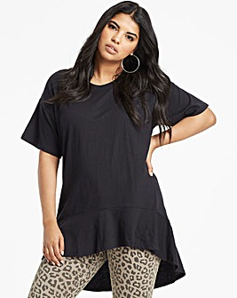 Black Frill Hem Top