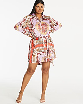 Ax Paris Curve Scarf Print Shirt Dress