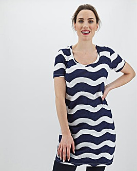 Stripe Cotton Slub Short Sleeve Tunic