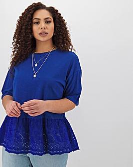 Blue Broderie Peplum Hem T-Shirt