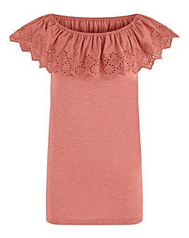 Pink Nude Broderie Bardot Top