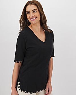 Black Pom Pom Tshirt