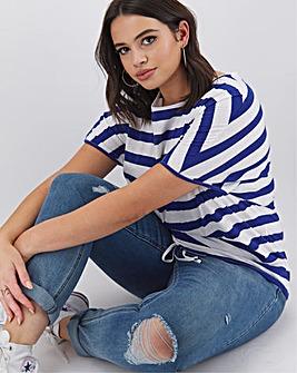 Cobalt Stripe Drawcord Hem T Shirt