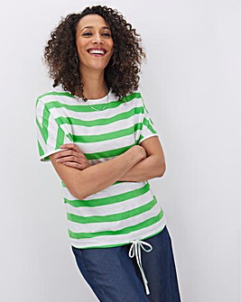 Green Stripe Drawcord Hem T Shirt