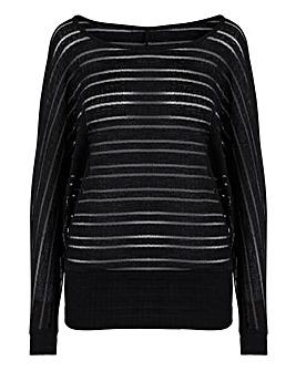 Black Cut & Sew Sheer Stripe Top