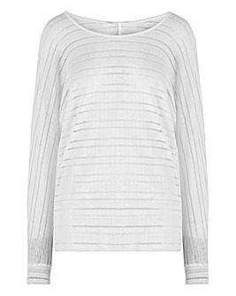 White Cut & Sew Sheer Stripe Top
