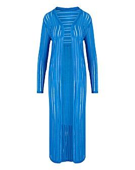 Blue Cut & Sew Sheer Longline Cardigan