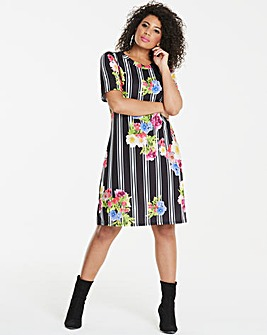 Pink Clove Stripe Floral T-Shirt Dress