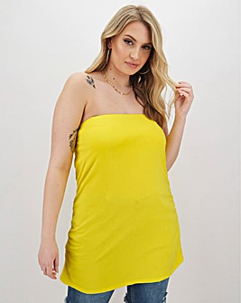 Yellow Ruched Bandeau Top