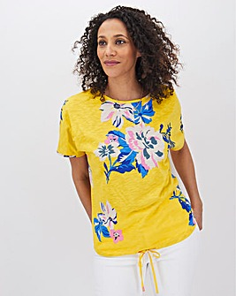 Yellow Floral Drawcord Hem T Shirt